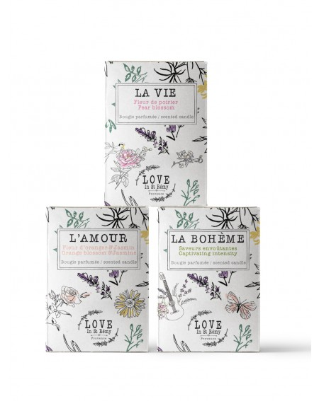 "Trilogy of 3 candles ""La Vie, l'Amour, La Bohème"""